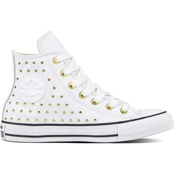 Women s Shoes Sneakers Converse CHUCK TAYLOR ALL STAR LEATHER WHITE WHITE  GOLD White  bb82e154f