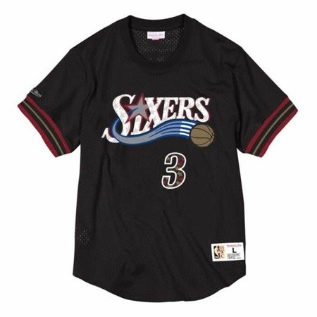 Mitchell & Ness NBA Philadelphia 76ers Allen Iverson Name & Number Mesh Crewneck - NNMPMG18062-P76BLCK01AIV