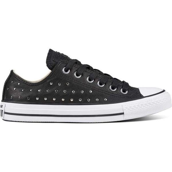 Converse CHUCK TAYLOR ALL STAR LEATHER BLACK BLACK SILVER Buty Damskie Trampki